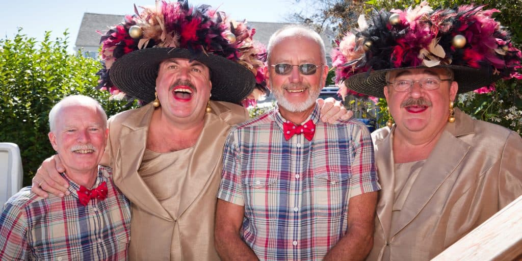 The Provincetown Hat Sisters help this gay couple celebrate their marriage.