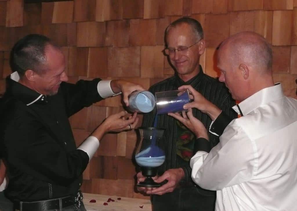 A sand ceremony during a gay wedding in New Mexico.