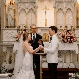 Dan officiates a wedding in a gorgeous cathedral