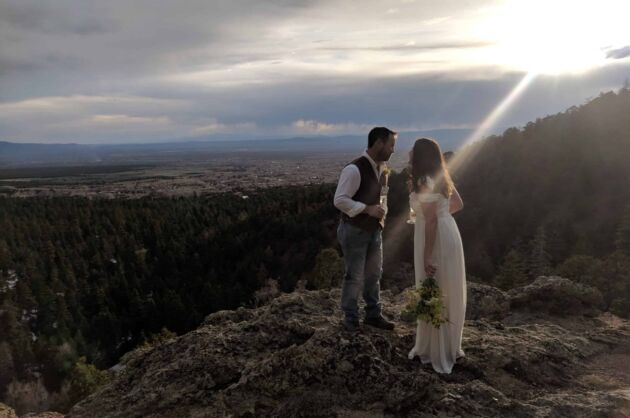 An elopement at sunrise in Taos New Mexico