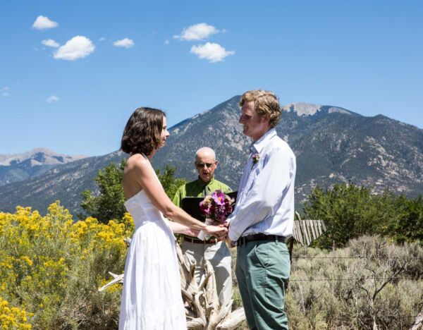 A wedding officiated by Dan Jones at the Bareiss Gallery location