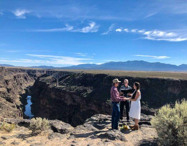 Breathtaking views make great wedding photos at the Rio Grande Gorge overlook