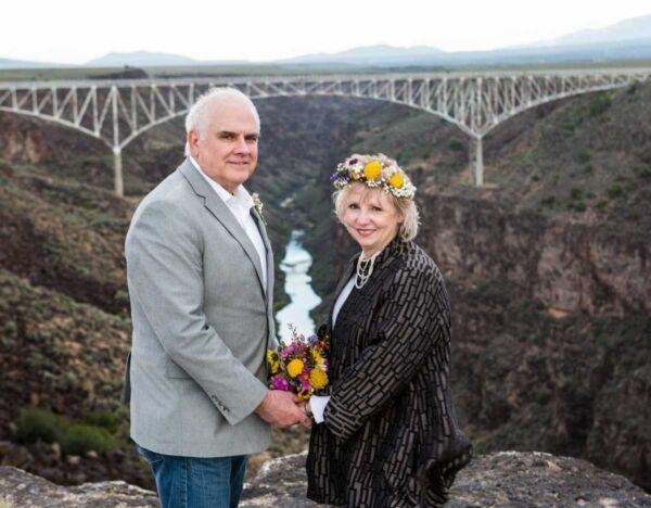 A wedding photo taken at the Rio Grande Gorge Bridge Overlook