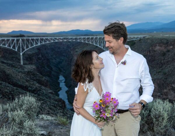 A happily married couple at the Rio Grande Gorge Bridge Overlook