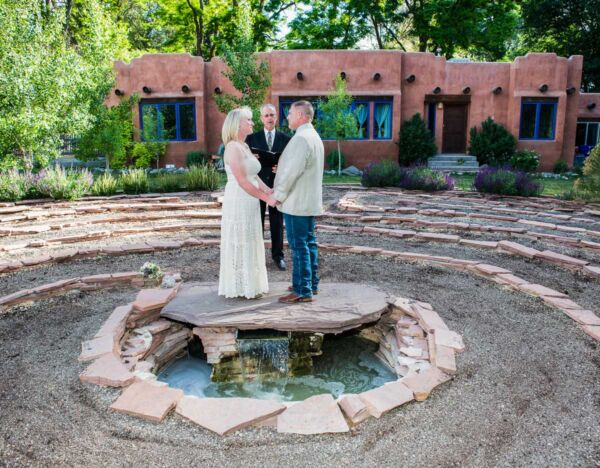 A labyrinth wedding ceremony with officiant Dan Jones