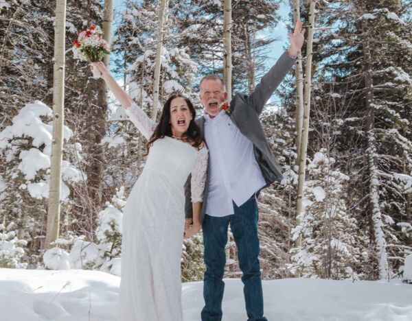 A happy married couple at the Taos Ski Valley
