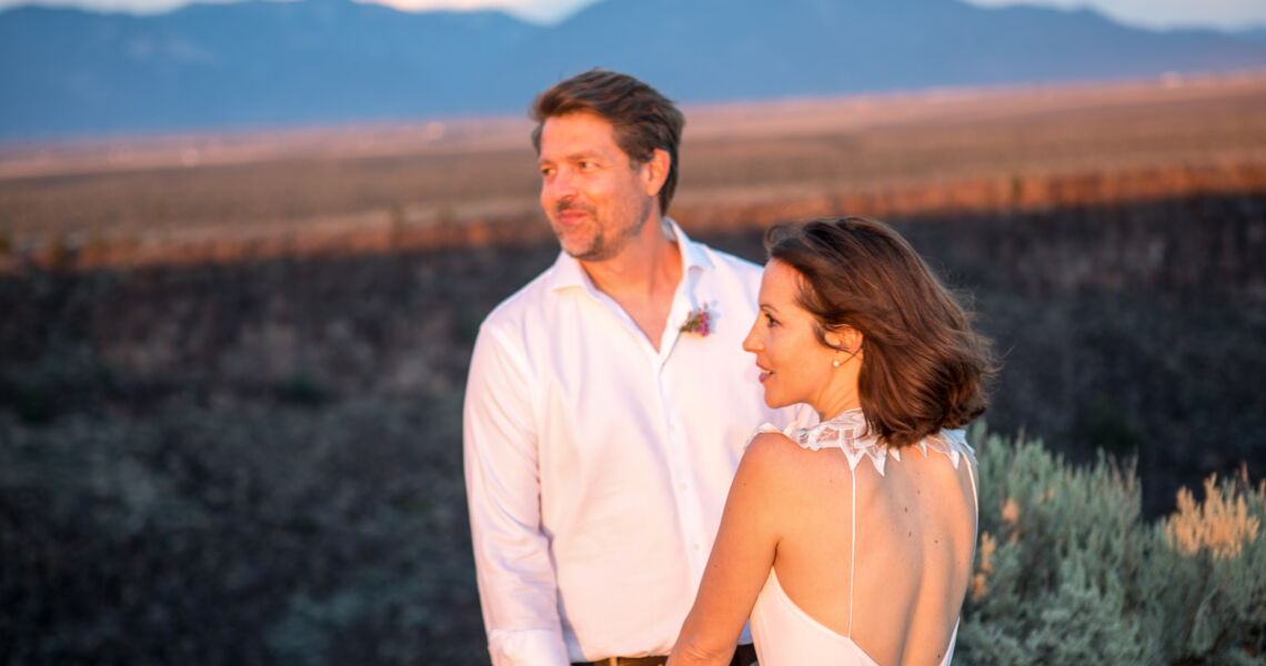 A wedding portrait with the great light at sunset