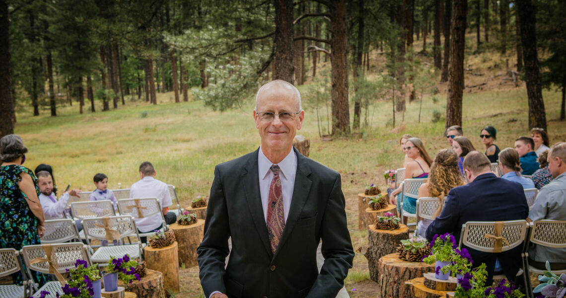 Dan Jones, wedding officiant in Taos, at the end of a wedding