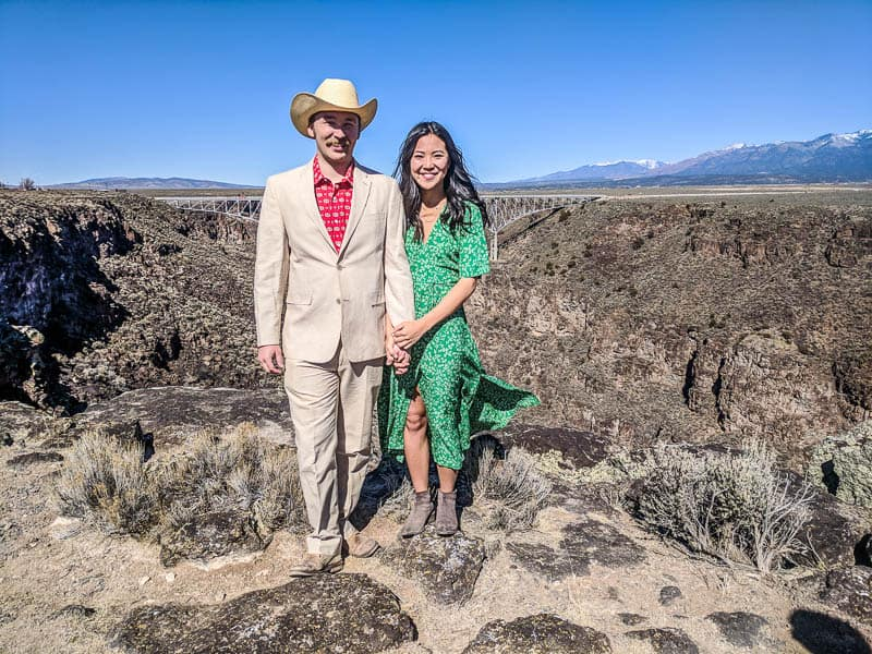 A couple eloping in Taos, New Mexico.
