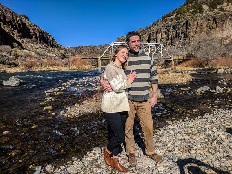 Eloping at the John Dunn Bridge at the confluence of the Rio Grande and Rio Hondo north of Taos.