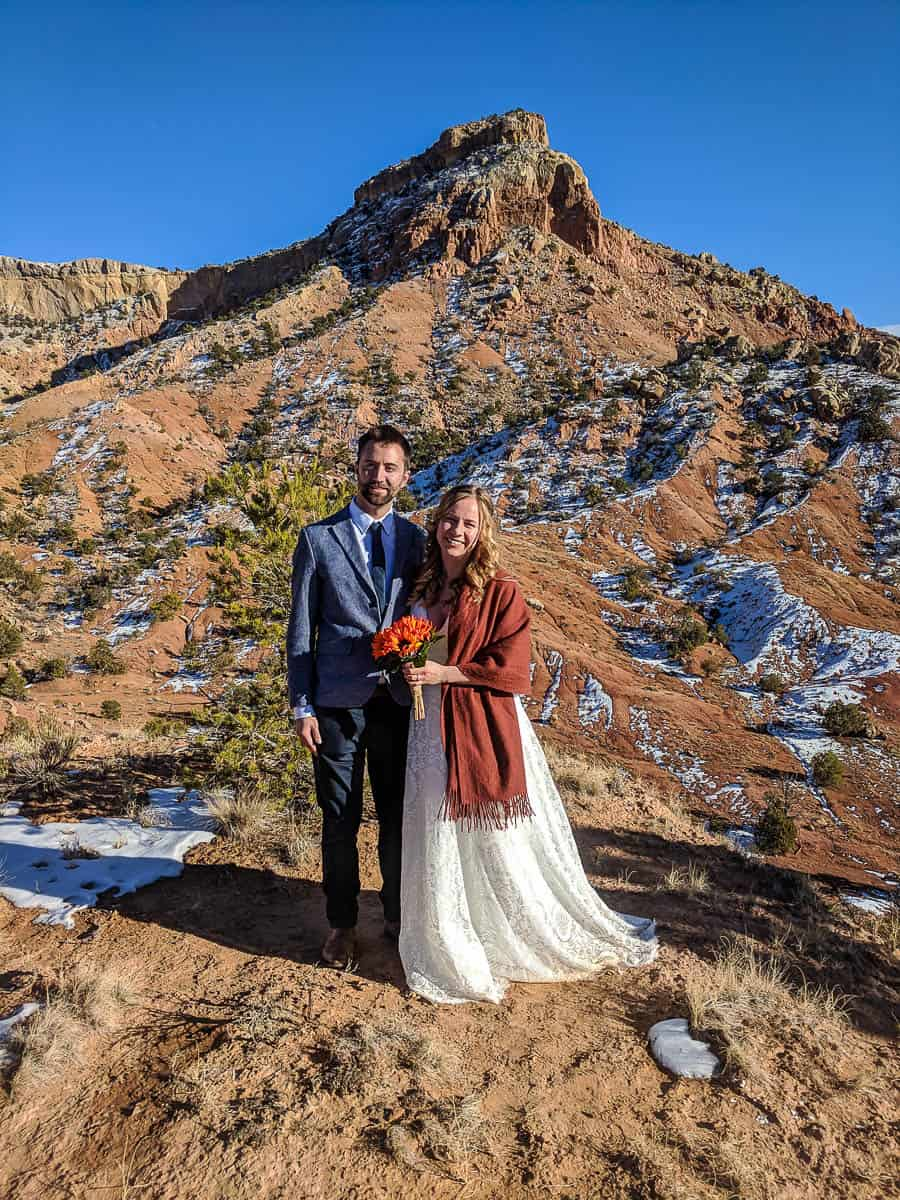A wedding couple at Ghost Ranch in northern New Mexico