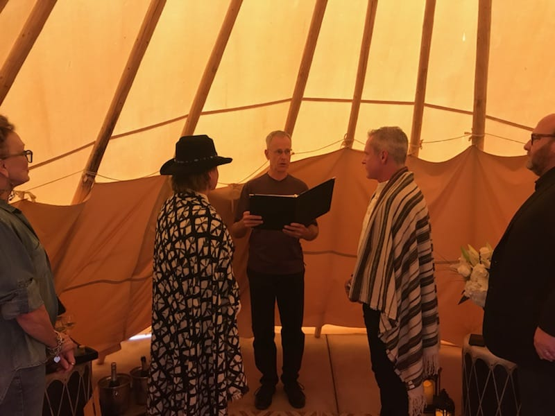 A couple getting married in the teepee at Four Seasons Santa Fe.