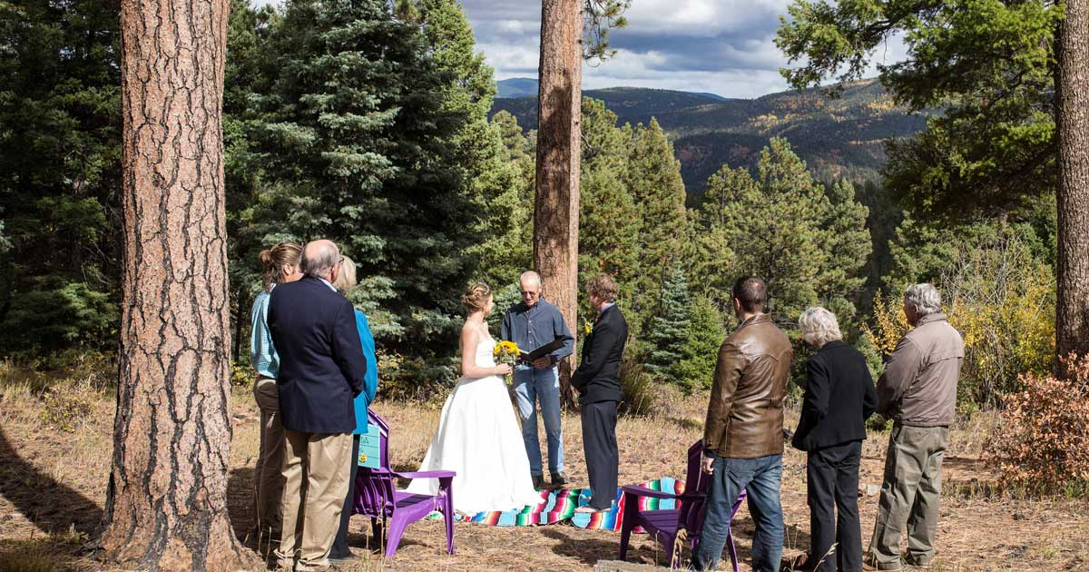 A private wedding in the Ponderosa forest above Taos, New Mexico